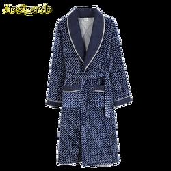 Мужской банный халат, прямые поставки из Китая, Мужская Ночная рубашка с длинным рукавом, 3-слойная теплая Мужская бархатная Пижама