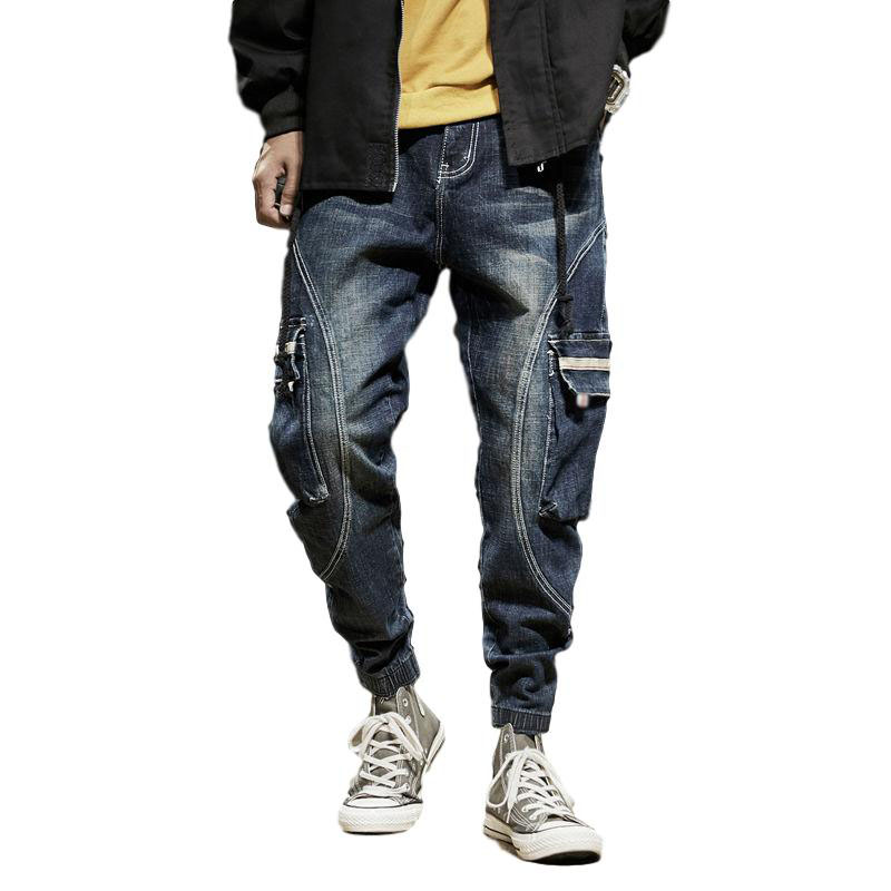 Idopy Street Style Men`s Cargo Jeans Loose Fit Harem Ankle Cuffed Elastic Waist Drawstring Denim Pants Trousers For Male 28-42