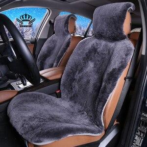 Image 1 - Futrzane peleryny na siedzeniu samochodu australijskiego 100% futra z owczej skóry Mouton premium pokrycie siedzenia samochodu szary dla samochodu lada granta