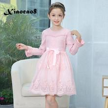 Girl dress kids long sleeve princess dress for girls children's solid sweet party dresses baby girl autumn clothes in pink blue цена 2017