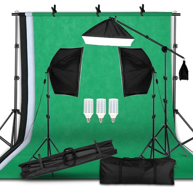 Kit de equipamento de iluminação para fotografia, equipamento profissional com suporte macio de fundo com braço do boom, backdrops, estúdio de fotos
