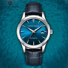 2021 Ultra-thin simple classic men mechanical watches business waterproof watch luxury brand genuine leather automatic watch+Box