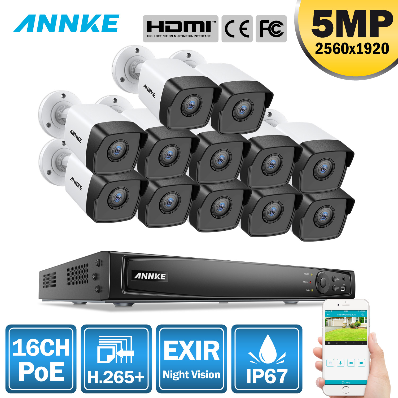ANNKE 16CH HD 5MP POE red sistema de seguridad de vídeo 8MP H.265 + NVR con 12X5 MP 30m Color de visión nocturna impermeable WIFI IP Cámara Sistema de alarma de casa, intercomunicador con alarma Wifi GSM, Control remoto, Autodial, detectores de 433MHz, IOS, Android, Tuya, teclado táctil con Control de aplicación