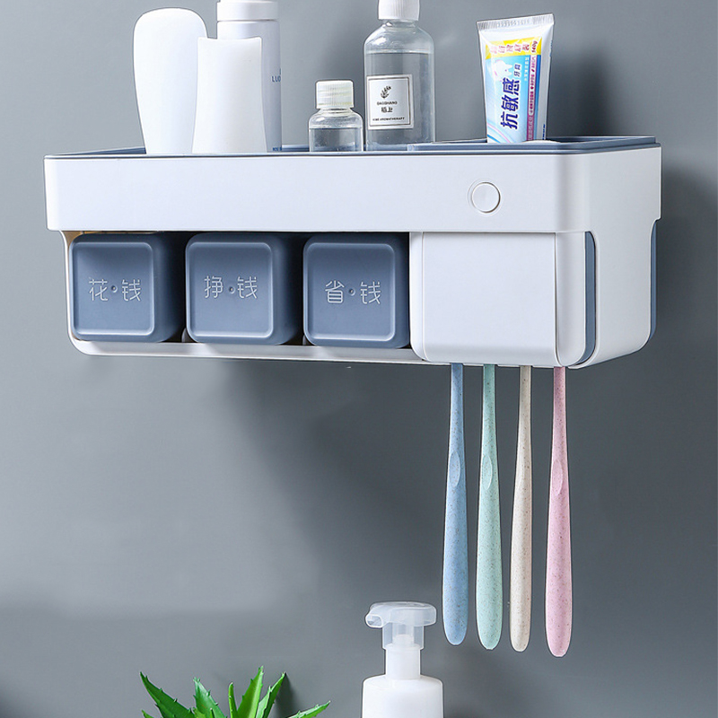 Intelligent Toothbrush Sterilizer Toothbrush Holder Toothpaste Storage Rack with Cups Wall Mount Bathroom Organizer Accessories in Toothbrush Toothpaste Holders from Home Garden