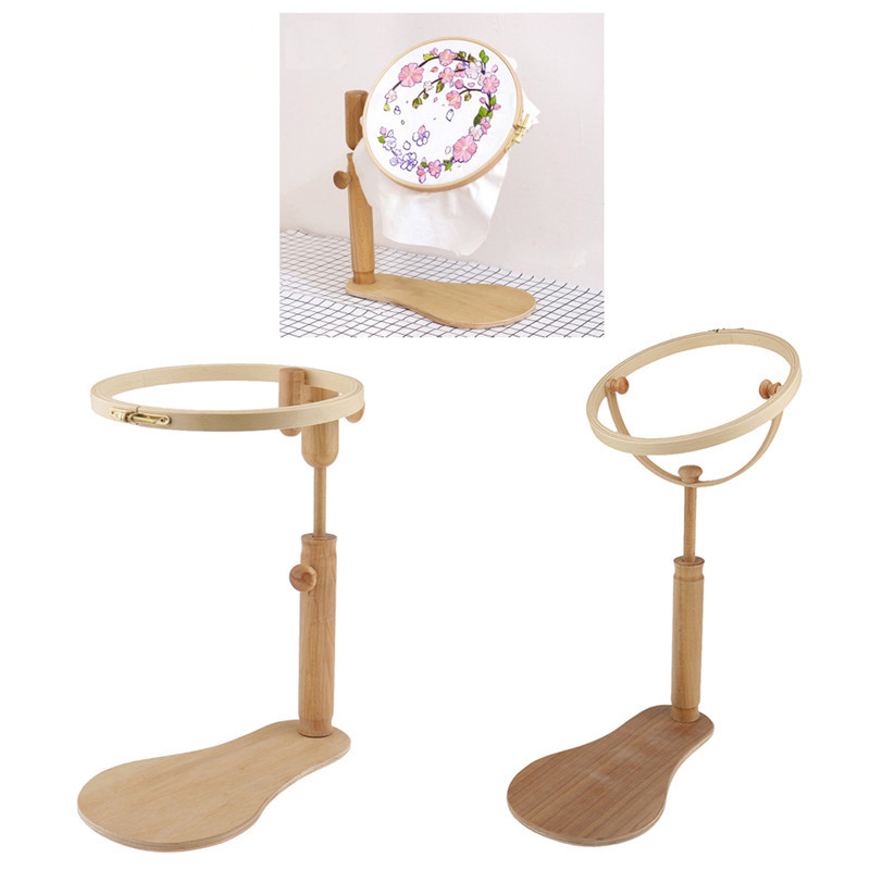 Stand Embroidery Hoop Wooden Embroidery Cross Stitch Hoop Set Adjustable Desktop Frames Embroidery Hoop Ring Frame Sewing Tools