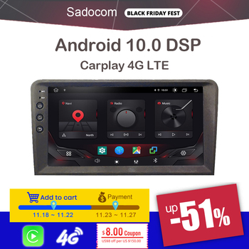 9 2 din Android 10.0 Car DVD player 8 Core 64GB ROM 4GB carplay autoradio car radio 4G LTE For Audi A3 2002-2010 2011 S3 RS3 RN image