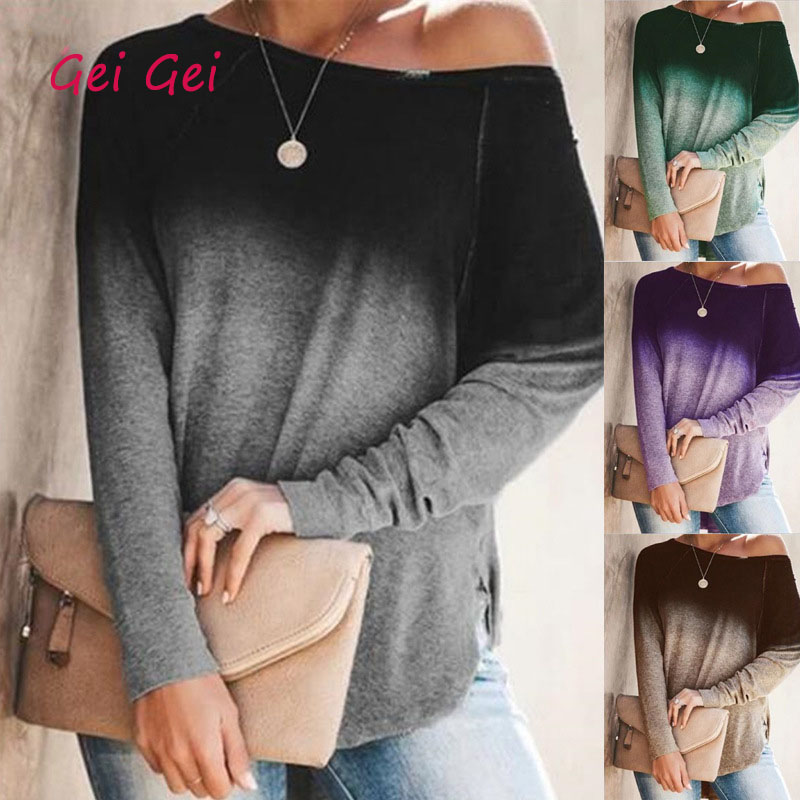 Autumn Gradient T Shirt Women Spring Long Sleeve O-Neck Sexy Strapless Vintage Shirts Loose Plus Size Top Tee Oversized T-Shirt