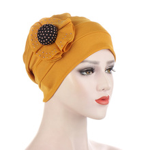 Fashion Women Diamonds Flower Turban Cap Muslim Pleated Headscarf Bonnet Ladies Hair Accessories Islamic Head Wraps Indian Hat