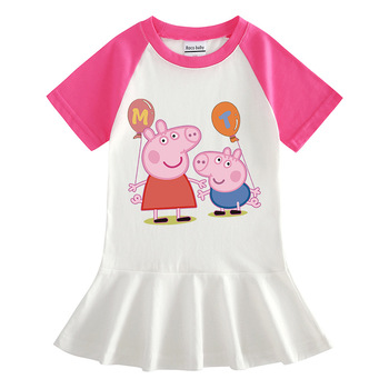 Summer Balloon Page George Half Sleeve Girls Dress Female Baby Cotton Western Style Pleated Princess Dress balloon sleeve embroidered applique dress