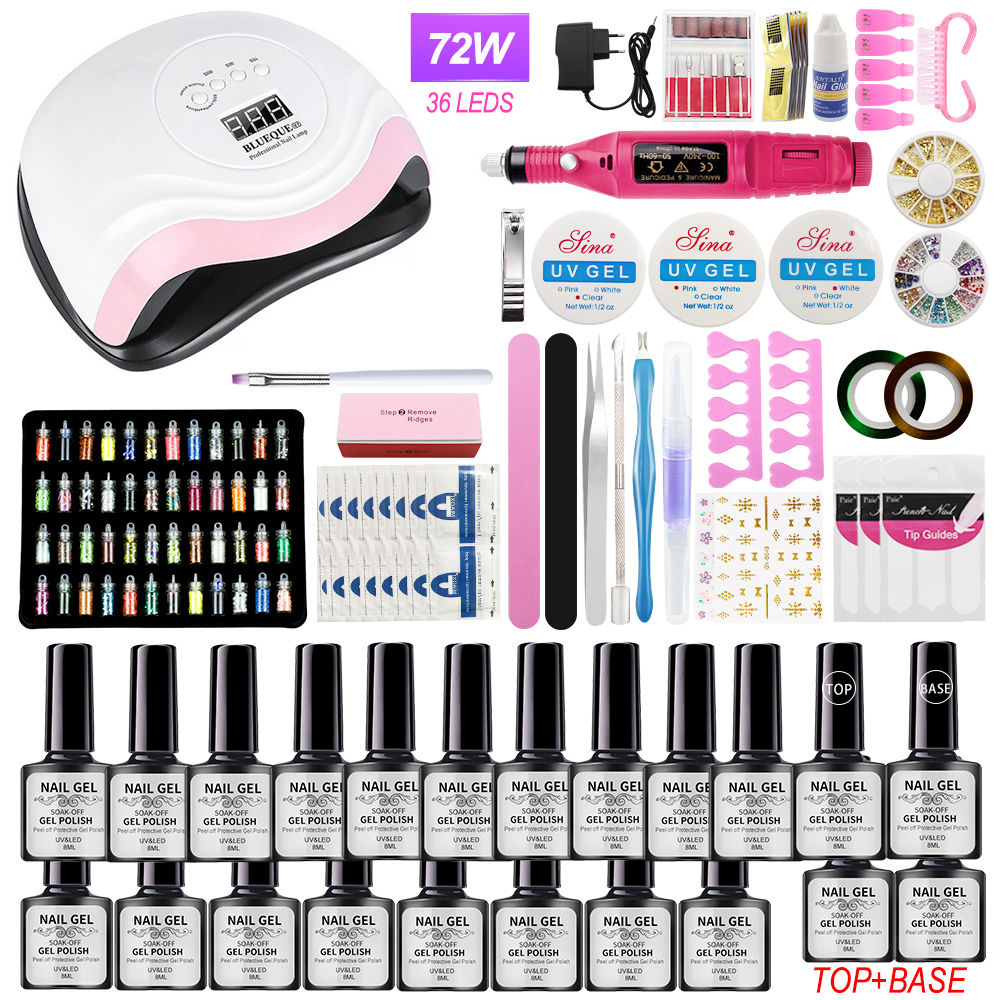 Professional Nail Set UV LED Lamp With Nail Gel Polish Kit And Electric Nail drill Full Manicure Tools Sets For Salon and Home