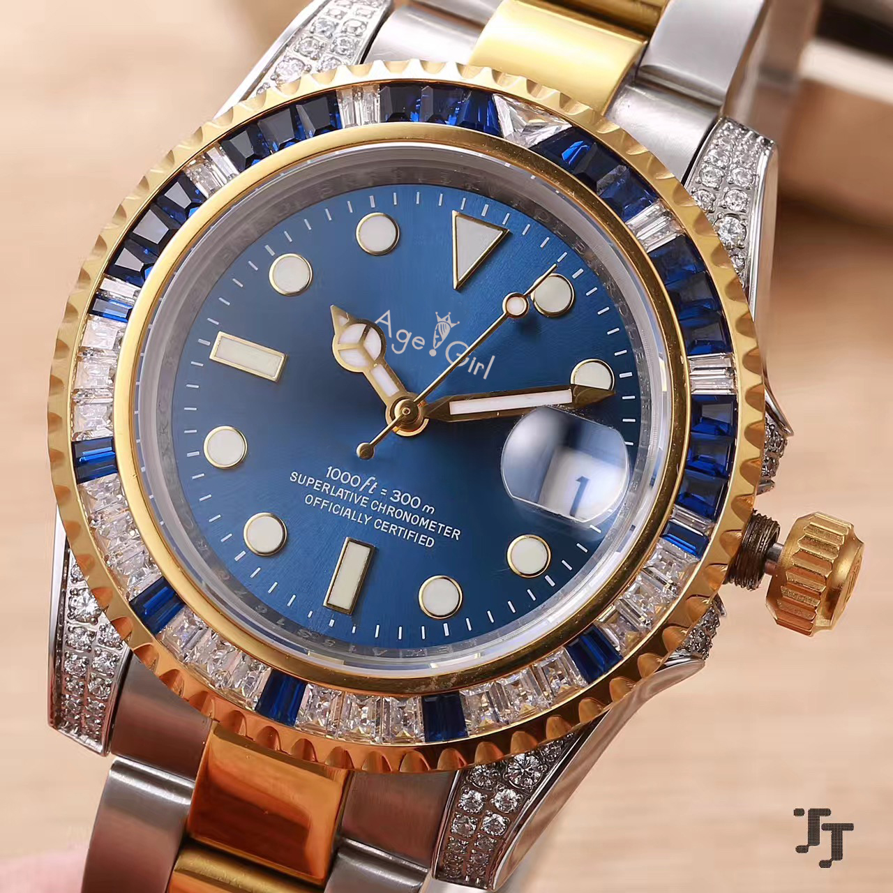 Luxury Brand New Men Automatic Mechanical Silver Yellow Gold Diamonds Rainbow Blue Green Stainless Steel Sapphire Watch AAA+