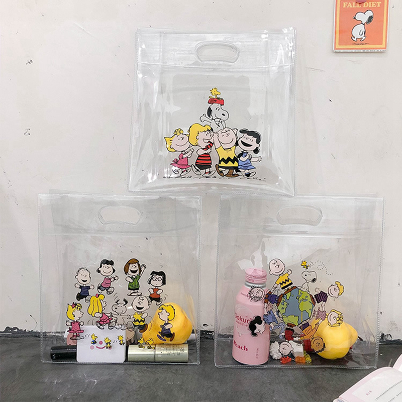 Cartoon Transparent PVC Shopping Bag Travel Portable Beach Storage Reusable Shoulder Satchel Women Grocery Unisex Fabric Pouch