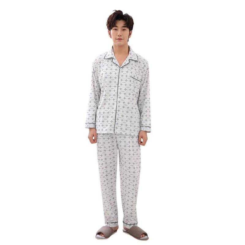 Men Cotton Pajama Set Autumn Winter Print Casual High-quality Breathable Personality Soft Surface Cardigan Long Sleeve Nightwear