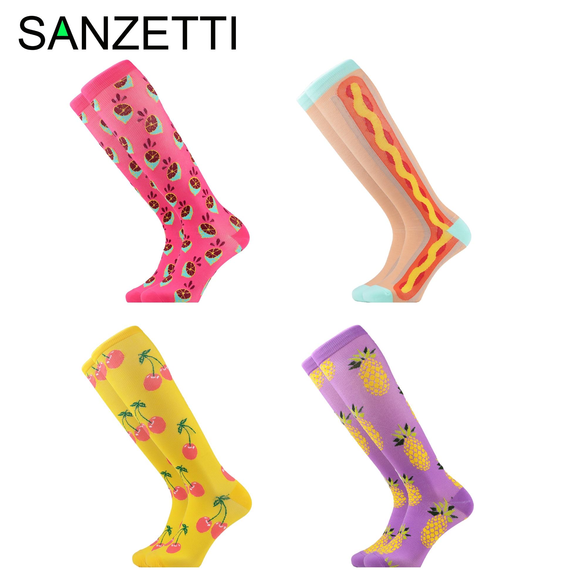 SANZETTI 4 Pairs/Lot Women  Patchwork Fruit  Combed Cotton Compression Socks Party Below Knee Plaid Anti-Fatigue Long Fun Socks