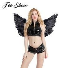 Для женщин и девочек, черный ангел, фея, настоящее перо, крылья, Танцевальная вечеринка, карнавальный костюм, для сцены, шоу, маскарад, карнавал, праздник, нарядное платье