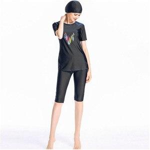Image 4 - Женская пляжная одежда, купальный костюм, мусульманский темно синий купальник с принтом, скромный купальник из трех предметов, размеры 4XL