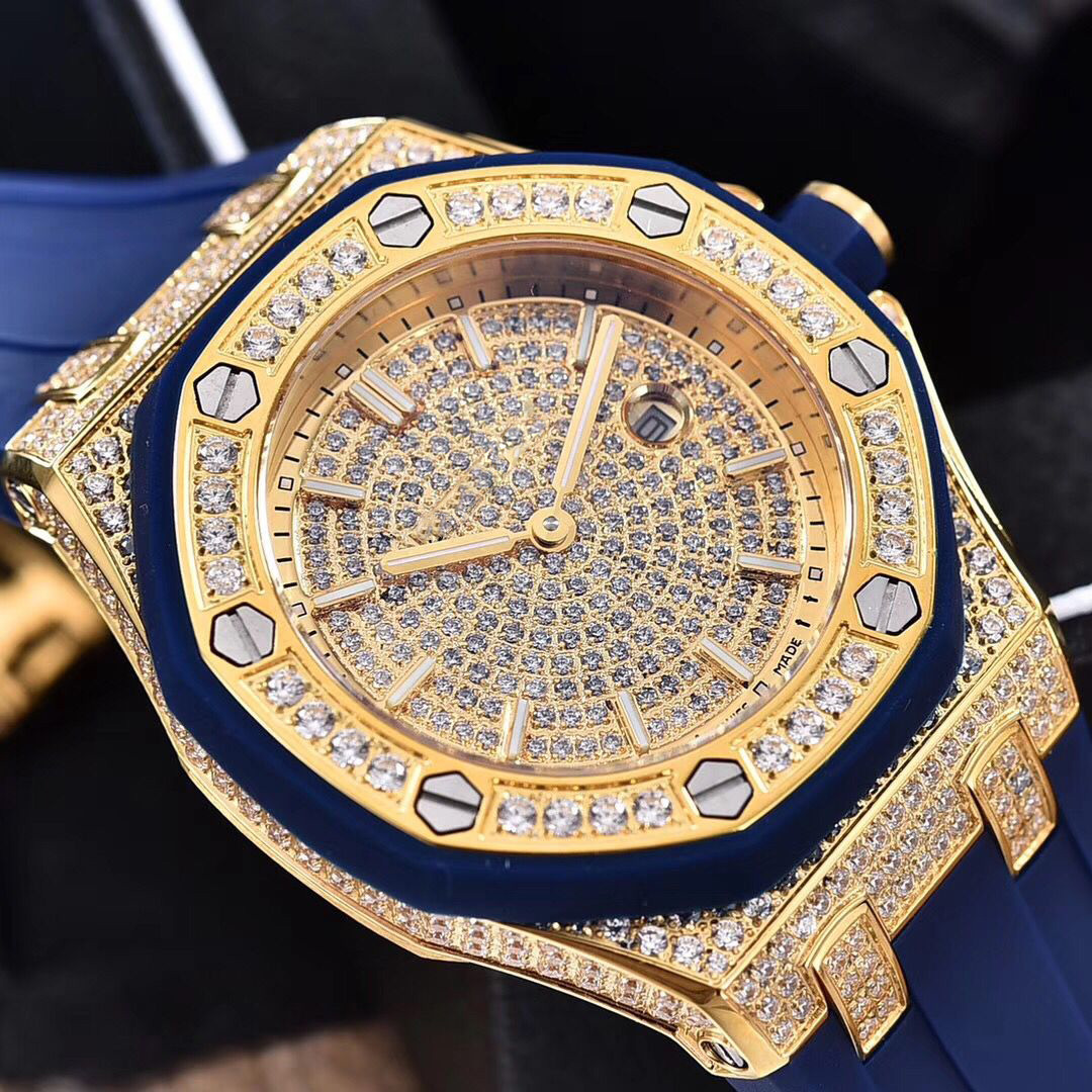 Full diamonds yellow gold Iced out watch 37mm szie women watch quartz ladies watches gold case red dial rubber strap - 3