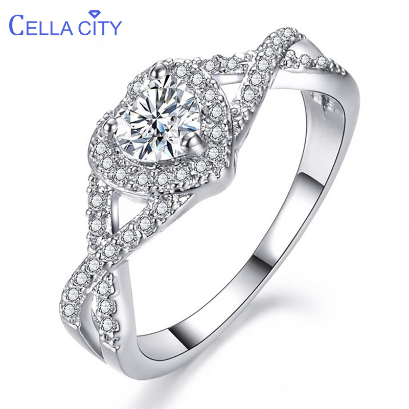 Cellacity Female Silver 925 Fine Jewelry Gemstones Rings For Women Heart Shaped Topaz Zircon Cross Hollow Engagement Ring Gift