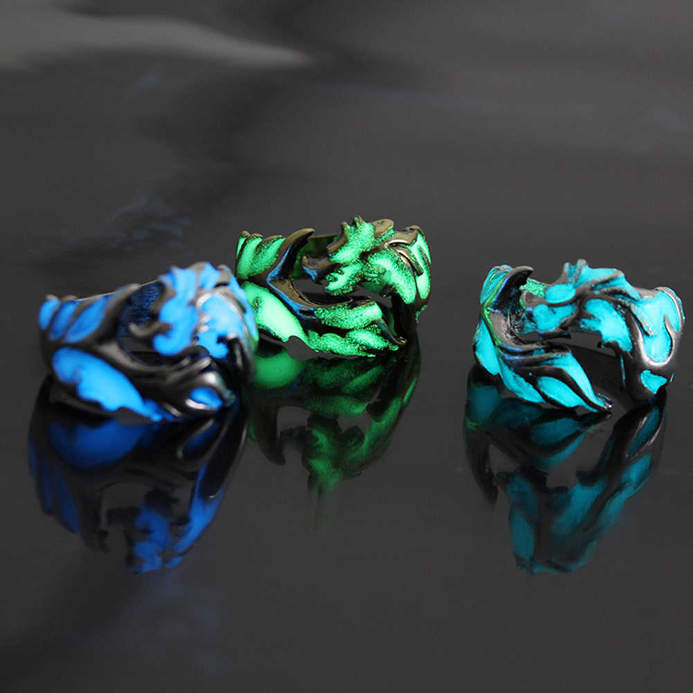 2019 nuevo Anillo de dragón luminoso nuevo anillo Unisex luz nocturna brillante en la Luna oscura accesorios de joyería