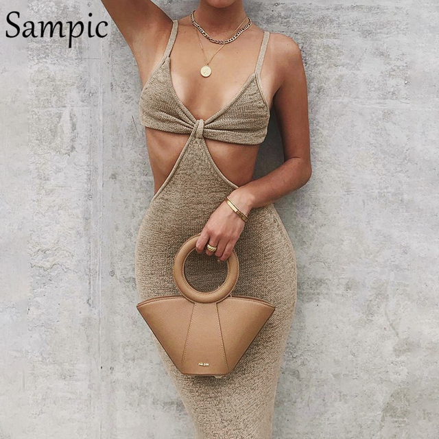 Sampic 2021 Women Strap Khaki Hollow Out Sexy Long Party Bodycon Dress Ladies V Neck Backless Night Club Cut Out Wrap Dress 2