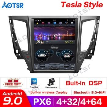 Android 9.0 4GB RAM Tesla style PX6 Car GPS Navigation For MITSUBISHI PAJERO 2016+ head unit multimedia auto radio tape recorder
