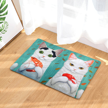 Cartoon Printed Flannel Entrance Doormat Non Slip Bathroom Carpet Cat Pattern Kitchen Rug Home Decor Living Room Floor Mat persian totem printed home decor antiskid rug