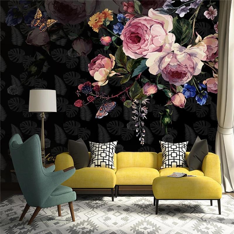 Custom Mural Wallpaper 3D Retro Flowers Rose Wall Painting Living Room Bedroom Romantic Fresco Home Decor Wall Paper For Wall 3D