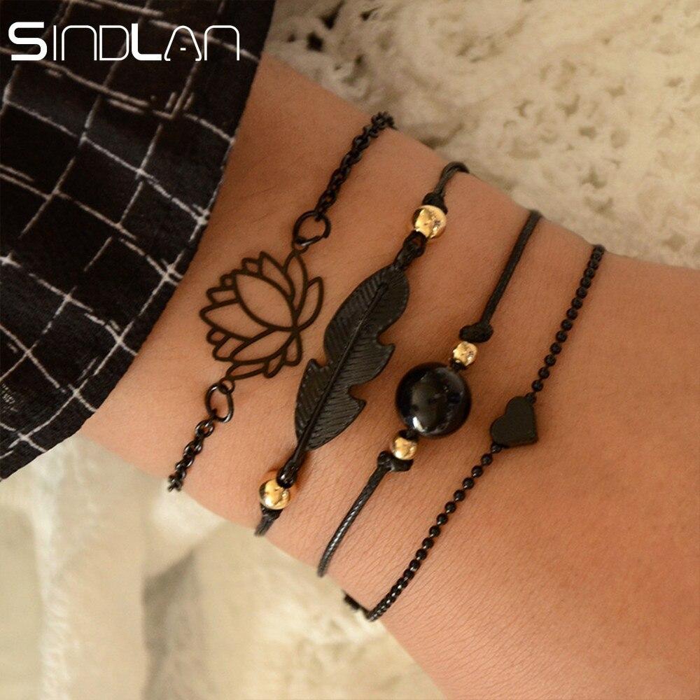 Sindlan 4PCs Gothic Black Feather Lotus Bracelets Set Heart Charm Boho Bangles for Women Wrist Chain Bracelets Fashion Jewelry