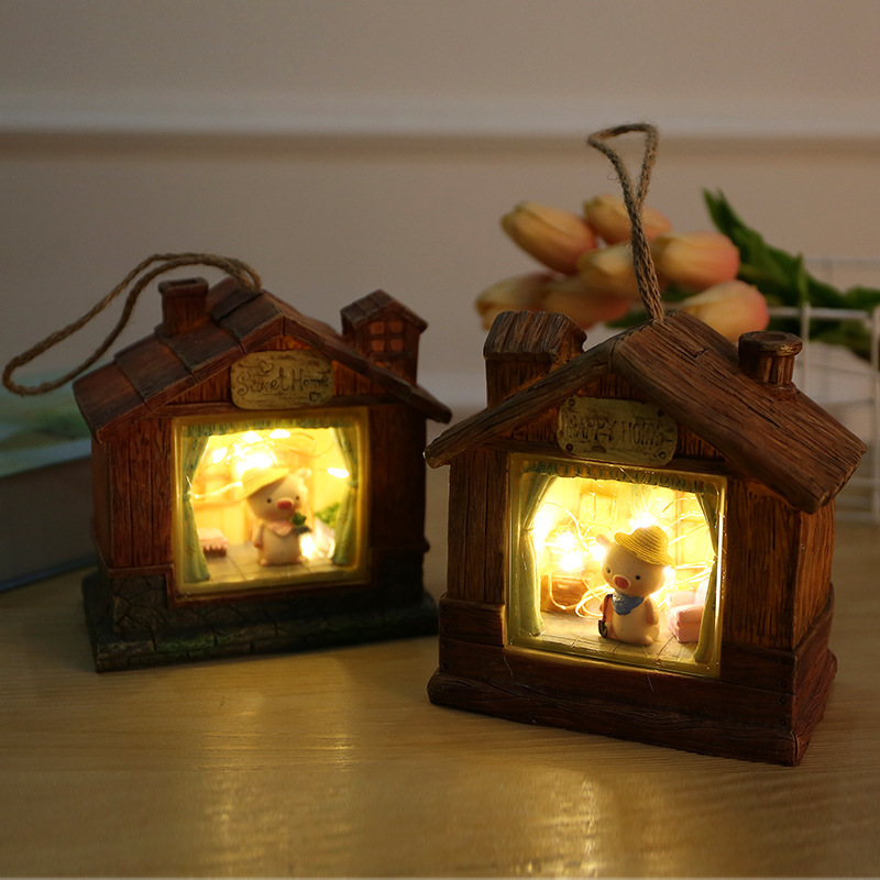 Wooden House Mini Pig  Starry Novetly Light Cartoon Animal Lamps Baby Bedroom Bedside Desktop Lamps Toy Gift For Children Kids