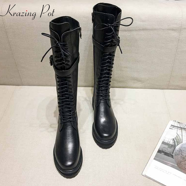 krazing pot genuine leather lace up med heels round toe punk superstar equestrian boots buckle fasteners over-the-knee boots 1