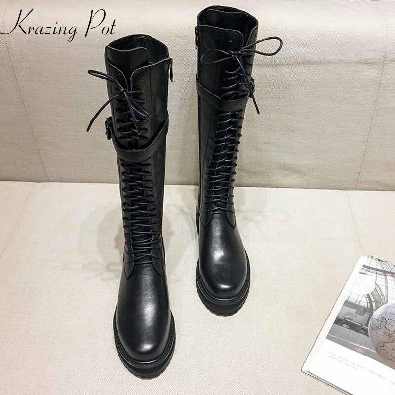 Krazing pot couro genuíno rendas até med saltos de dedo do pé redondo punk superstar equestre botas fivela fixadores sobre o joelho botas l35
