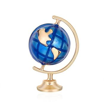 Fashion Unisex Terrestrial Globe Enamel Brooch Pin Badge Denim Jacket Decor image