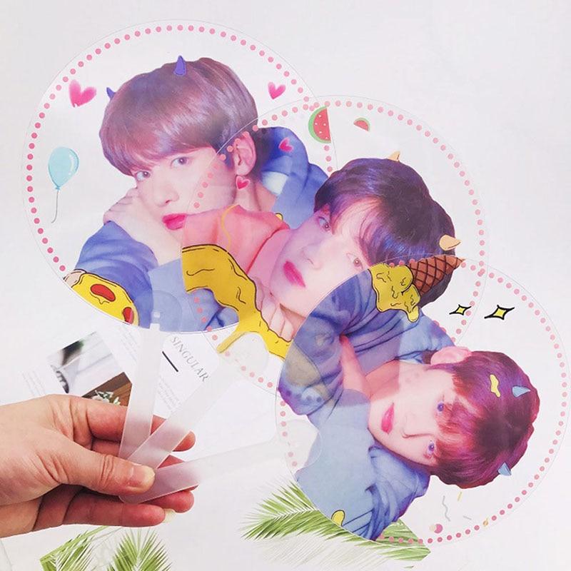 Kpop TXT  Photo Hand Fan Soobin Yeonjun Clear PVC Hand Fan Taehyun Hueningkai Summer Stationery Gift