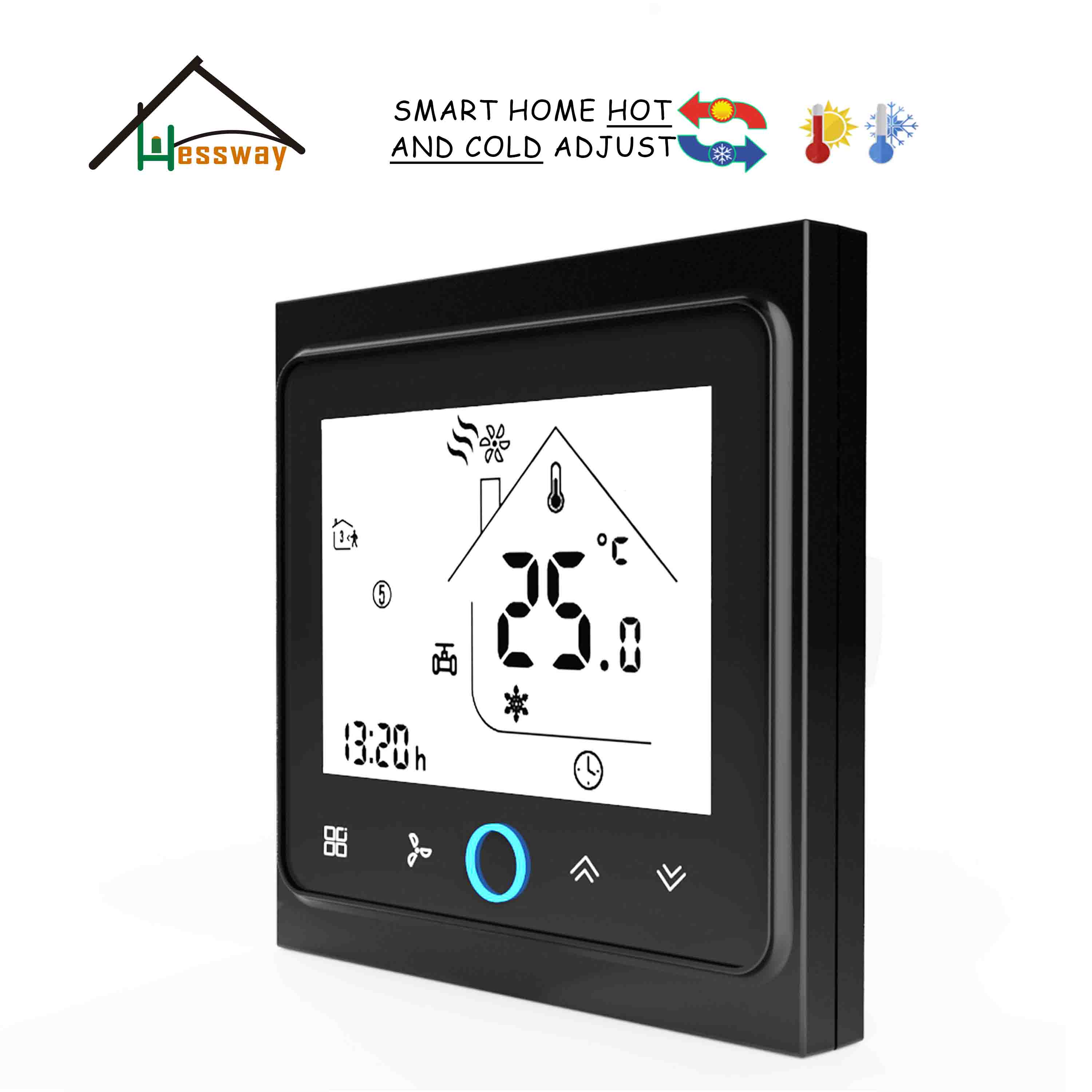 HESSWAY Touch Screen Digital FCU Thermostat For Air Conditioner 2p/4p