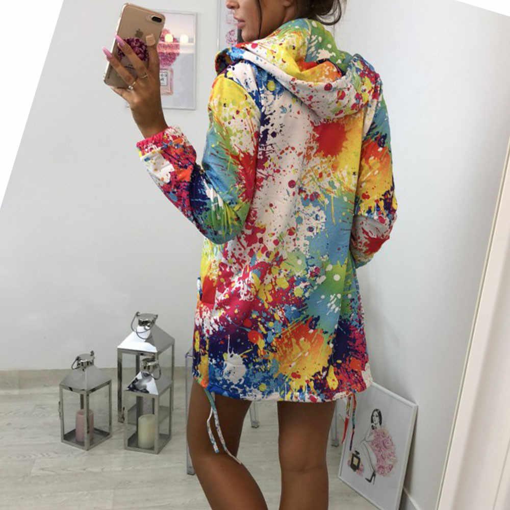 2019 mode Herbst Kpop Kleidung Farbe Frauen Hoodies Sweatshirts Punk Lange Hülse Druck tasche Mit Kapuze Jacke Zipper Mantel A30815
