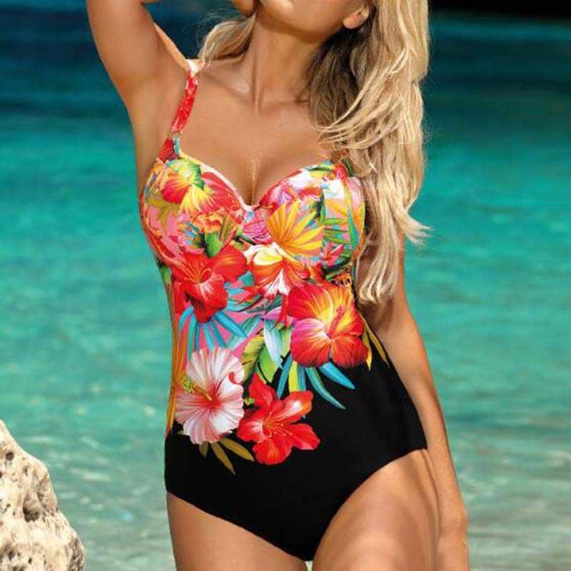 الأزهار قطعة واحدة المايوه كبيرة مغلقة حجم كبير ملابس السباحة رفع الإناث الجسم ثوب السباحة ل بركة الشاطئ النساء لباس سباحة