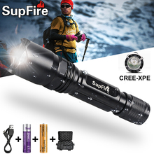 Supfire C2 LED Self-Defense Flashlight Outdoor Climbing Glare Bike Light  USB Rechargeable Small Flashlight Camping Light