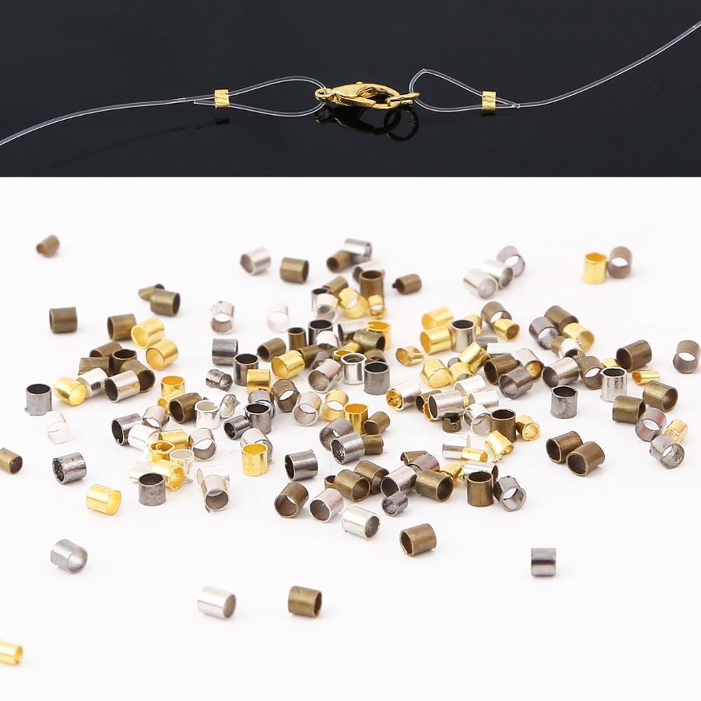 500 шт./лот 1,5/2 мм высококачественные Медные пробирки, обжимные концевые пробки, бусины для браслета, ожерелья, аксессуары для изготовления юв...