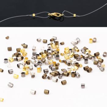 500pcs/lots 1.5/2mm High Quality Copper Tube Crimp End Stopper Spacer Beads For Bracelet NecklaceJewelry Making Accessories - discount item  25% OFF Jewelry Making