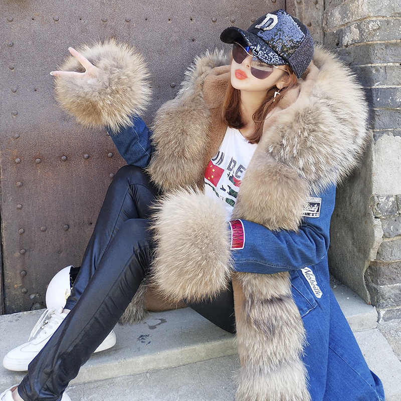Grün Frauen Armee Maomaokong Luxus Große Fuchs Pelz Kragen Manschette Mit Kapuze Mantel Parkas Outwear Camouflage lange Winter Jacke mantel