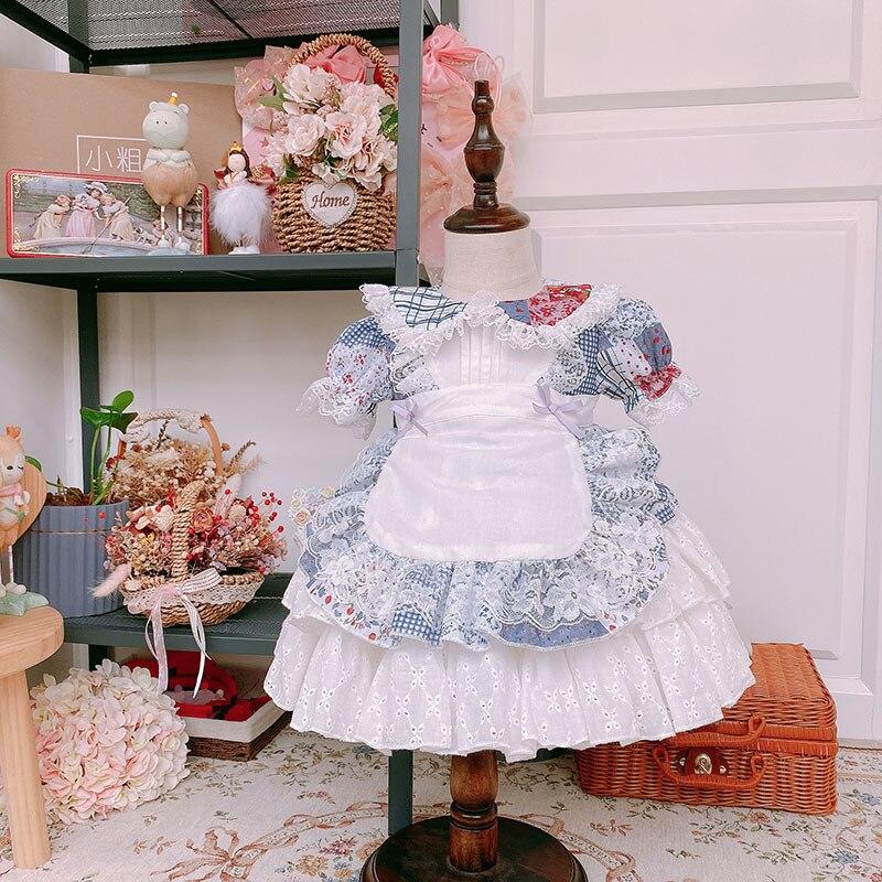 2020summer Baby Girls VTG Antique Dress 2pcs Set Girls Wedding Princess Dress Kids Dresses for Girls Vocation Sweet Dress