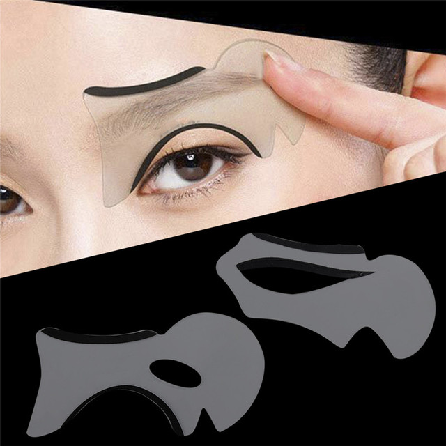 2pcs Eyebrow Stencils Cat Eye&Smokey Eye Makeup Eyeliner Models Card Stencil Template NEW Charm Lady Shaper Bottom Liner Tools 1