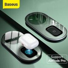 Беспроводное зарядное устройство Baseus Qi для Airpods Pro iPhone 12 11 Pro X XS XR 15 Вт, двойная Беспроводная зарядная площадка для Samsung S10 S9, офисное использование