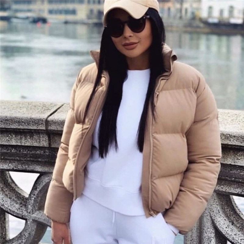 Fashion Bubble Coat Solid Standard Collar Oversized Short Jacket Winter Autumn Female Puffer Jacket Parkas Mujer Y123