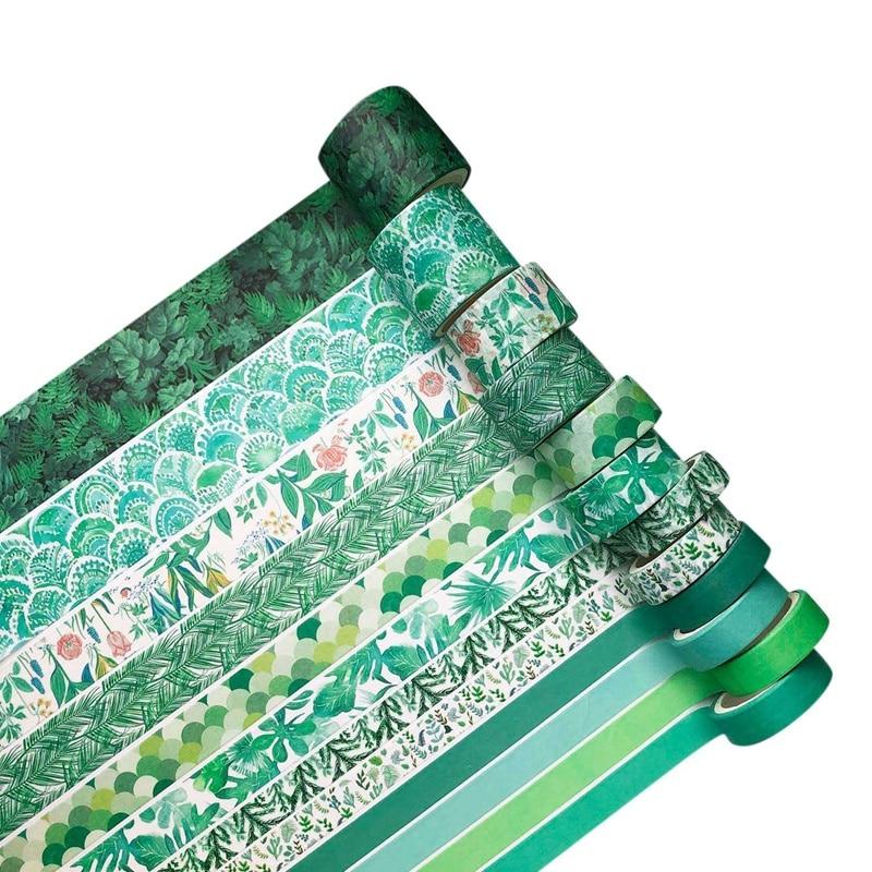 12Pcs/Set Green Plant Washi Tape Masking Tape Decorative Adhesive Tape Sticker Scrapbooking Diary Stationery Supply