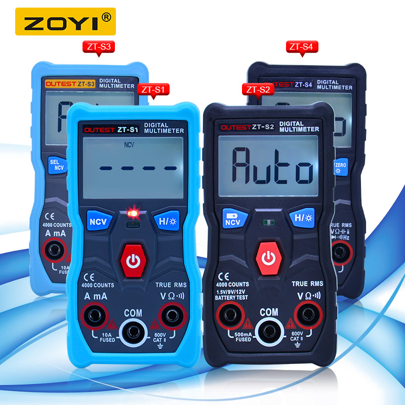 ZOYI True RMS Digital Multimeter autoranging 4000 counts multimetro temperature capacitance frequency battery +NCV tester image