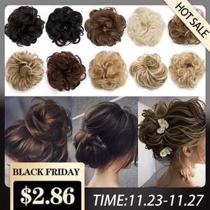 S-noilite Elastic Band With Hair Curly Chignon Synthetic Hair Women Drawstring Ponytail Hairpieces Black Brown Updo Chignons