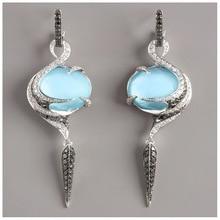 2019 pendientes de piedra lunar alas de Ángel pendientes largos piedra azul cristal hoja pendientes para mujeres Vintage elegante boda joyería