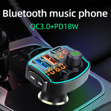Cden bluetooth 5.0 receptor transmissor fm carro mp3 player USB-C carregador de carro qc3.0 pd18w carga rápida u disco leitor música