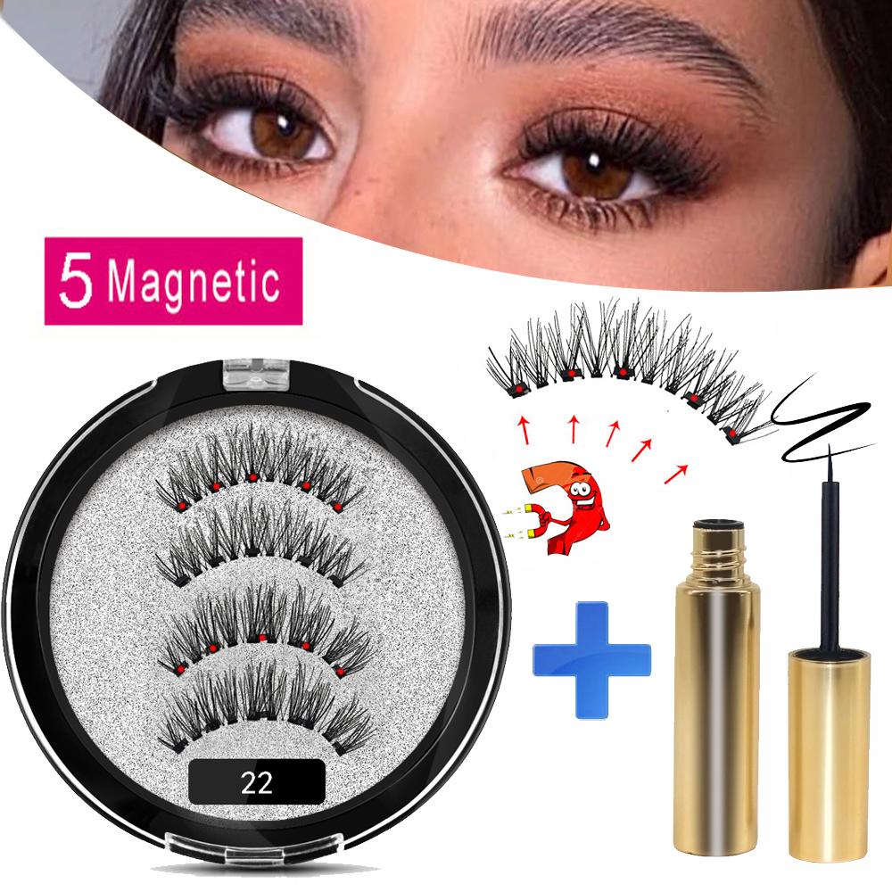MB 2 Pairs 5 Magnet Magnetic Eyelashs Set Liquid Eyeliner& Magnetic False Lashes Waterproof Long Lasting Mink Eyelashs Extension